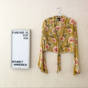 Mustard Floral Top   Forever 21